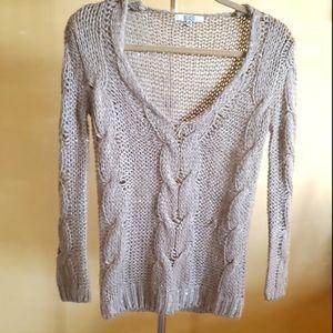 Bb Dakota Beige/Gold Sequin Sweater